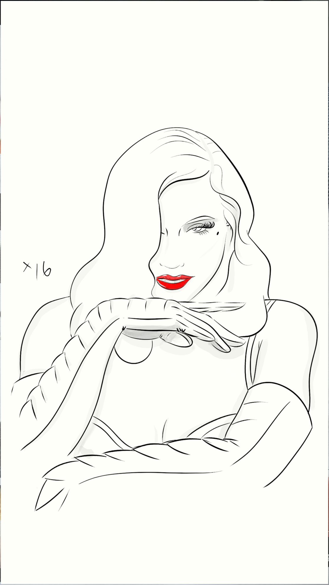 line sketch of dita von teese as superwoman emma frost